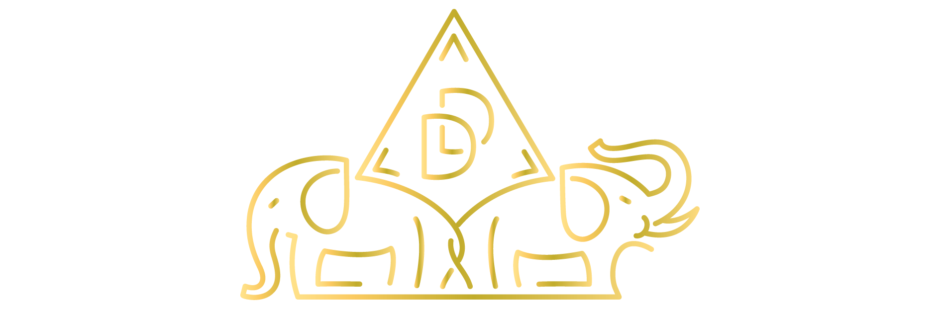 Devs Does logo of two golden elephants with DD balanced on their backs